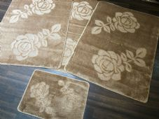ROMANY GYPSY WASHABLE ROSE FULL SET OF 4 MATS X LARGE 100X140CM BEIGE-BROWN